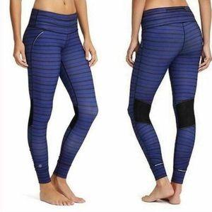 Athleta Purple Striped Cuffed Leggings X Small